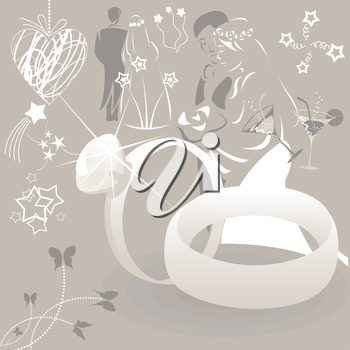 Collection on a wedding theme. A vector illustration
