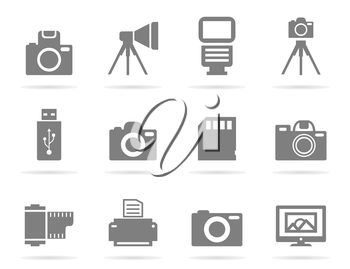 Set of icons of a photo. A vector illustration