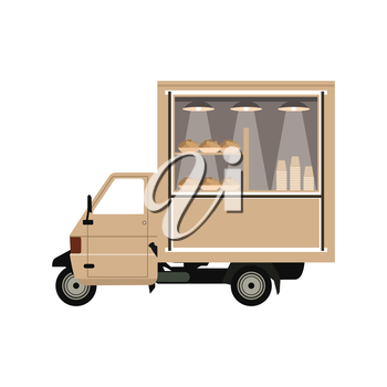 The car on coffee sale. A vector illustration