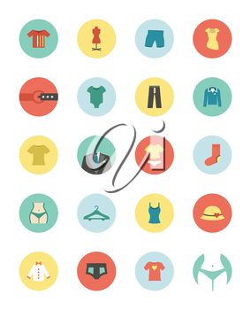 Set of flat icons on a theme clothes. Vector illustration