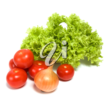 Lettuce salad and vegetables isolated on white background