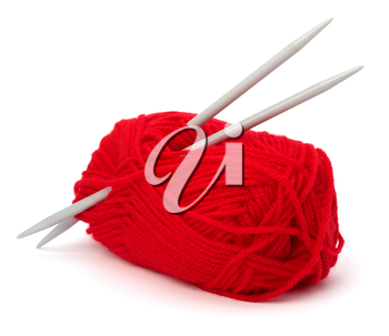 Woollen thread and knitting needle. Needlework accessories isolated on white background.