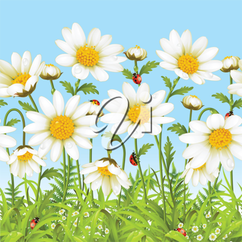 Royalty Free Clipart Image of a Seamless Nature Scene