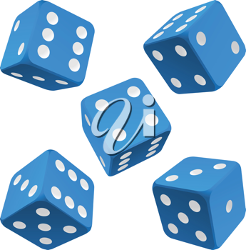 Royalty Free Clipart Image of Blue Dice