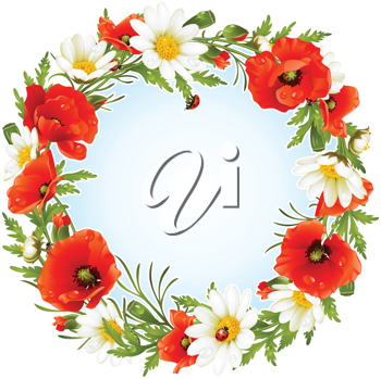 Royalty Free Clipart Image of a Floral Wreath