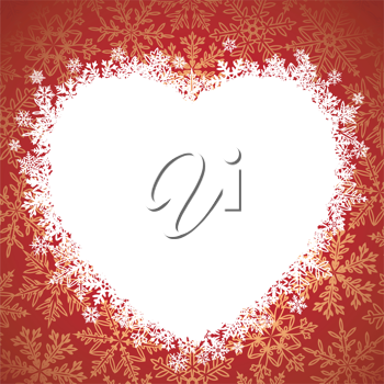 Royalty Free Clipart Image of a Winter Heart