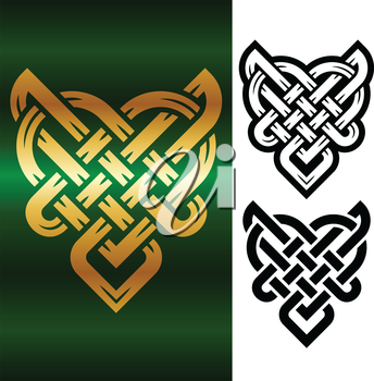 Vector small celtic heart isolated on white background
