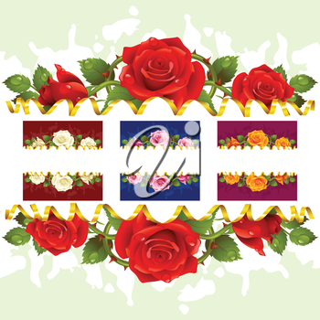 Vector horizontal frame set whith roses. Red, white, pink, yellow flowers and golden ribbon