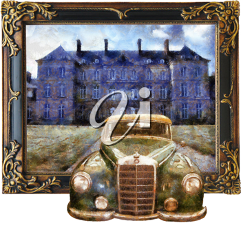 Royalty Free Photo of a Painting of a Mercedes in Front of a Mansion