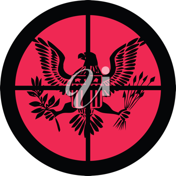 In the scope series – America (under attack) in the crosshair of a gun's telescope. Can be symbolic for need of protection, being tired of, intolerance or being under investigation.