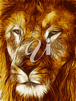 Close-up picture illustration of Large Lion face Vector