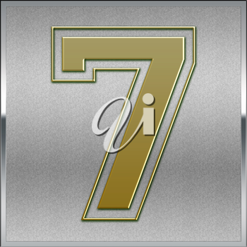 Gold on Silver Number 7 Position, Place Sign or Medal