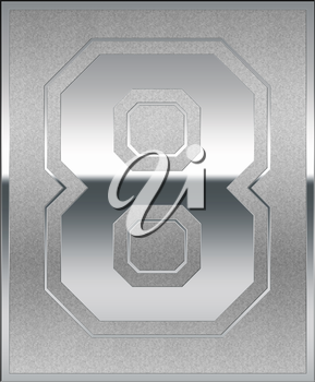 Silver Casted Number 8 Position, Place, Sign or Medal