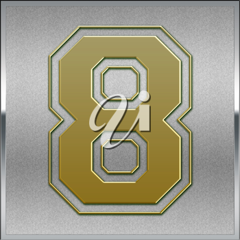 Gold on Silver Number 8 Position, Place Sign or Medal