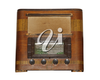 Isolated Old Vintage Wooden Box Radio on White