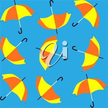 Royalty Free Clipart Image of a Seamless Pattern With Umbrellas