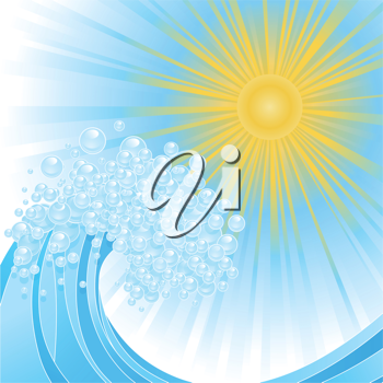 Royalty Free Clipart Image of Waves and Sunlight