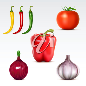 Royalty Free Clipart Image of a Collection of Vegetables