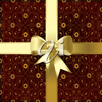 Royalty Free Clipart Image of a Floral Background With a Gold Bow