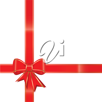 Royalty Free Clipart Image of a Red Bow on White