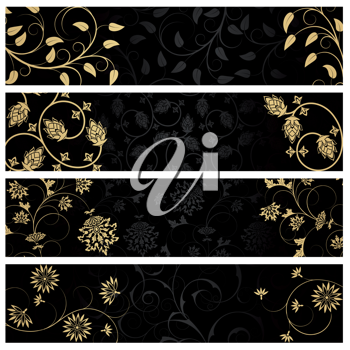 Royalty Free Clipart Image of Four Black and Gold Banners