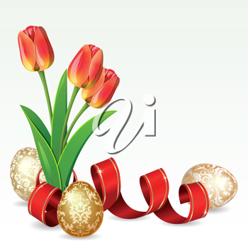 Royalty Free Clipart Image of Easter Eggs and Tulips