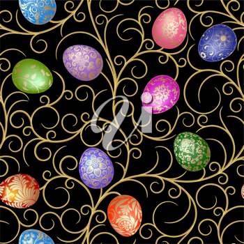Royalty Free Clipart Image of Easter Eggs and Vines