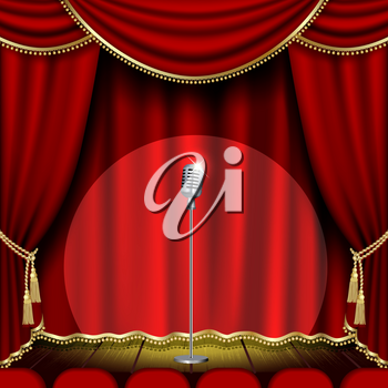 Theater stage  with microphone and red curtain. Clipping Mask. Mesh.