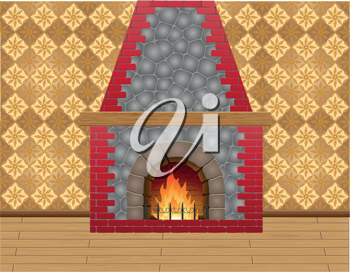 Royalty Free Clipart Image of a Fireplace
