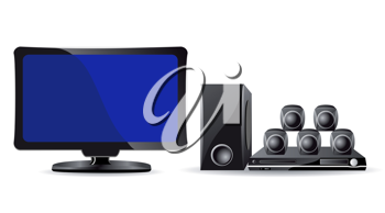 Royalty Free Clipart Image of a Television and Surround Sound System