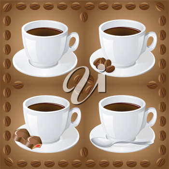 Royalty Free Clipart Image of a Set of Coffees