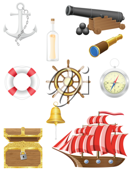 Royalty Free Clipart Image of a Set of Nauticle Objects