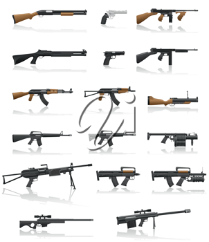 Royalty Free Clipart Image of a Gun Collection