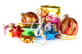 gifts with decorations for New Year and Christmas isolated on white background
