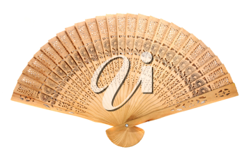 wooden oriental fan isolated on white background