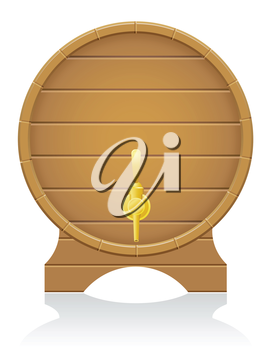 wooden barrel vector illustration isolated on white background