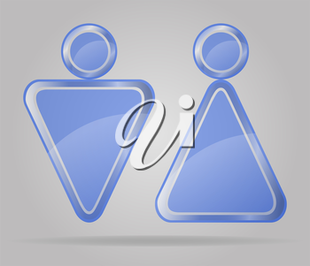 transparent sign man and women toilets vector illustration isolated on gray background