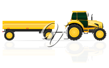 tractor trailer vector illustration isolated on white background