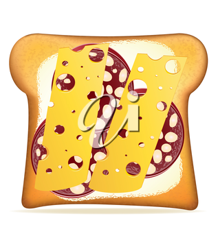 buttered toast sausage and cheese vector illustration isolated on white background