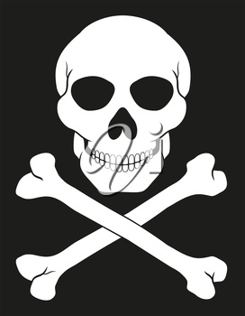 pirate skull and crossbones vector illustration isolated on white background