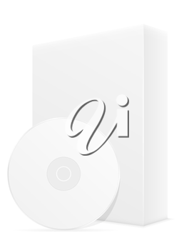 white cd and dvd bisk box packing vector illustration isolated on background