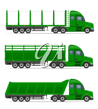 truck semi trailer for transportation of goods vector illustration isolated on white background