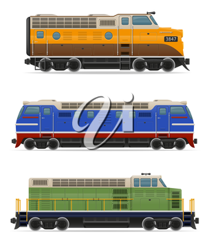 set icons railway locomotive train vector illustration isolated on white background