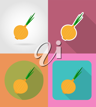 onion vegetable flat icons with the shadow vector illustration isolated on background