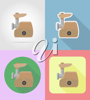 meat grinder household appliances for kitchen flat icons vector illustration isolated on background
