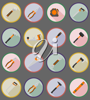 repair and building tools flat icons vector illustration isolated on white background