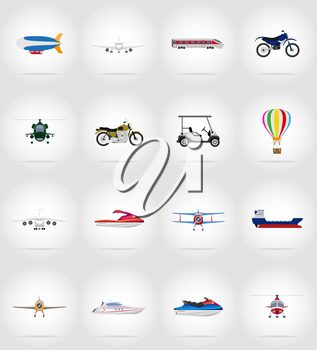 transport flat icons vector illustration isolated on background