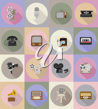 old retro vintage multimedia flat icons vector illustration isolated on background