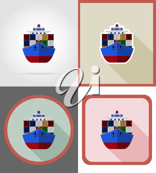 delivery shipping by sea on a ship flat icons vector illustration isolated on background