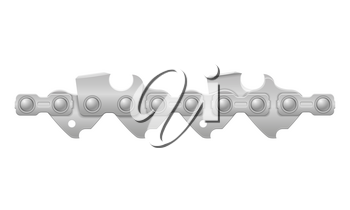 chainsaw chain metal and sharply sharpened vector illustration isolated on white background